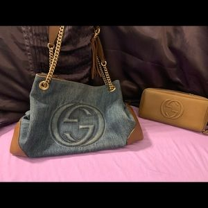 Authentic Gucci denim purse with Gucci wallet